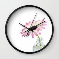 daisy Wall Clocks featuring Daisy by LebensART Photography