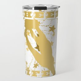Cheer Life Design in Gold with Stars Travel Mug