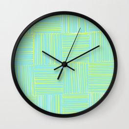 Blue & Yellow Criss Cross Wall Clock
