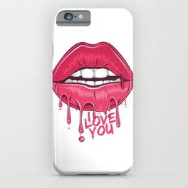 Sexy red lips i love you Melted lipstick iPhone Case