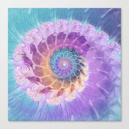 Painted Fractal Spiral in Turquoise, Purple, and Orange Canvas Print