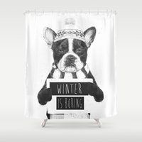 snowboarding Shower Curtains featuring Winter is boring by Balazs Solti