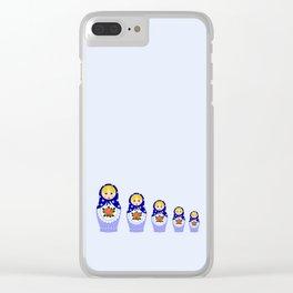 Blue russian matryoshka nesting dolls Clear iPhone Case