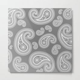 Silver paisleys Metal Print