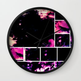 Magenta & Deep Fuschia Abstract Floral with Boxed Images Wall Clock