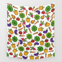 vegetables Wall Tapestries featuring Vegetables by Alisa Galitsyna