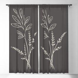 6-202-1n, Beige & Dark brown, Floral Botanical art, Wild flower, Plant Leaves, Boho decor, Blackout Curtain