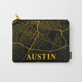Austin Texas City Map   Gold USA City Street Map   America Cities Maps Carry-All Pouch
