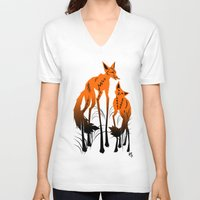 foxes V-neck T-shirts featuring Foxes by AmKiLi