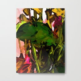 Green Leaf and Yellow Flowers with a Pink Wall Metal Print