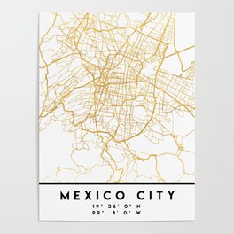 MEXICO CITY MEXICO CITY STREET MAP ART Poster
