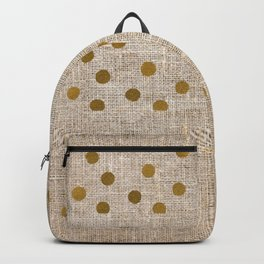 Vintage Gold Burlap Backpack