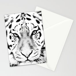White Tiger Print Stationery Cards