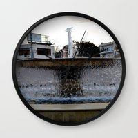 israel Wall Clocks featuring Israel Fountain by R. Nicole