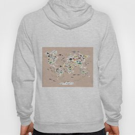 Cartoon animal world map, back to schhool. Animals from all over the world rosybrown background Hoody