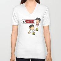 soccer V-neck T-shirts featuring Soccer Skull by flydesign