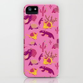 Desert Animals in Pink with Yellow Armadillo iPhone Case