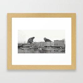 Godzilla and King Kong Rumble in Baltimore Framed Art Print