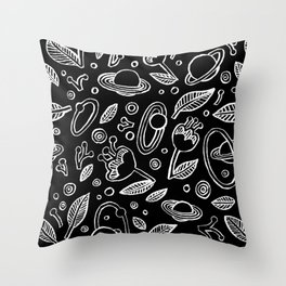Spaceflowers Throw Pillow