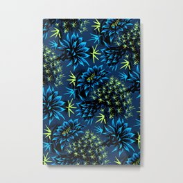Cactus Floral - Blue/Black/Green Metal Print