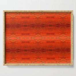 Rustic Orange Geometric Southwestern Pattern - Luxury - Comforter - Bedding - Throw Pillows - Rugs Serving Tray