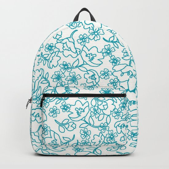 Turquoise Flowers Backpack