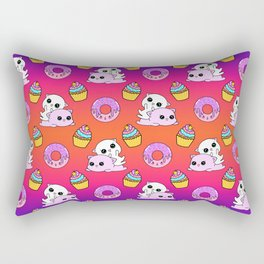 Cute funny Kawaii chibi pink little playful baby kittens, happy sweet donuts and adorable colourful yummy cupcakes seamless purple orange rainbow pattern design. Nursery decor ideas. Rectangular Pillow