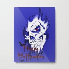 Happy Halloween, Blue demonic skull, spooky artwork, horror design Metal Print