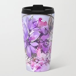 Painterly Violet Floral Abstract Travel Mug