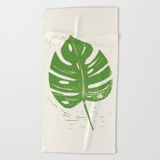 Linocut Leaf Beach Towel
