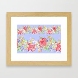 tropical hawaiian flowers periwinkle Framed Art Print