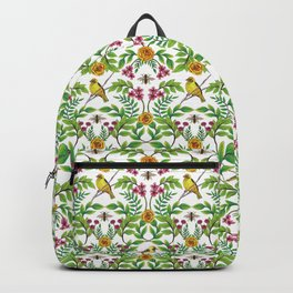 Summer Song - Yellow & Pink Floral Pattern with Birds & Bees Backpack