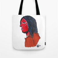 neil gaiman Tote Bags featuring Neil Young by Urban Knish