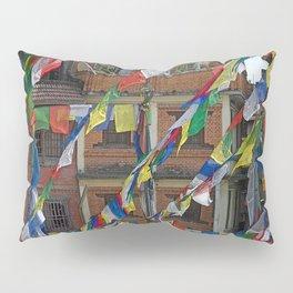 BOUDHANATH HOUSES AND FLAGS KATHMANDU NEPAL Pillow Sham