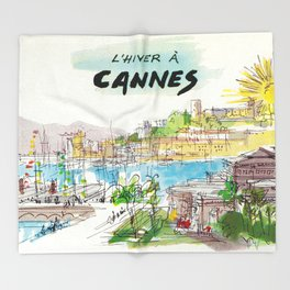 Winter In Cannes Throw Blanket