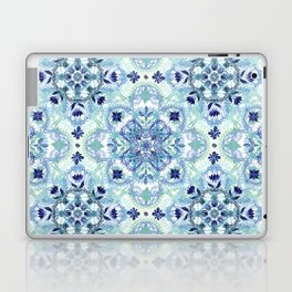 Navy Blue, Green & Cream Detailed Lace Doodle Pattern Laptop & iPad Skin