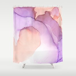 purple and peach ink Shower Curtain