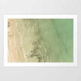 Aerial views over the crystal clear sea at Polzeath Beach, Cornwall Art Print