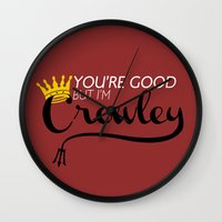 crowley Wall Clocks featuring I'm Crowley by forgottenLexi