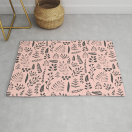 Pink and black leaves Rug