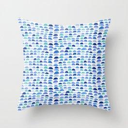 Blue scalloped pattern Throw Pillow