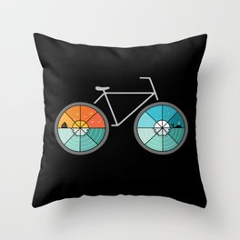 Bicycle Landscape Throw Pillow