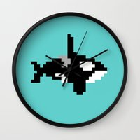 8 bit Wall Clocks featuring 8-bit Orca by Ria Pi