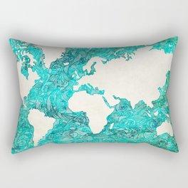 The Blue World Map Rectangular Pillow