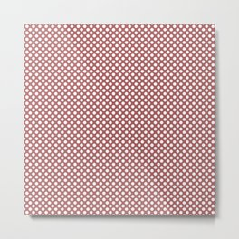 Dusty Cedar and White Polka Dots Metal Print