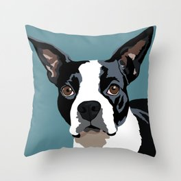 Mendo the Boston Terrier Throw Pillow