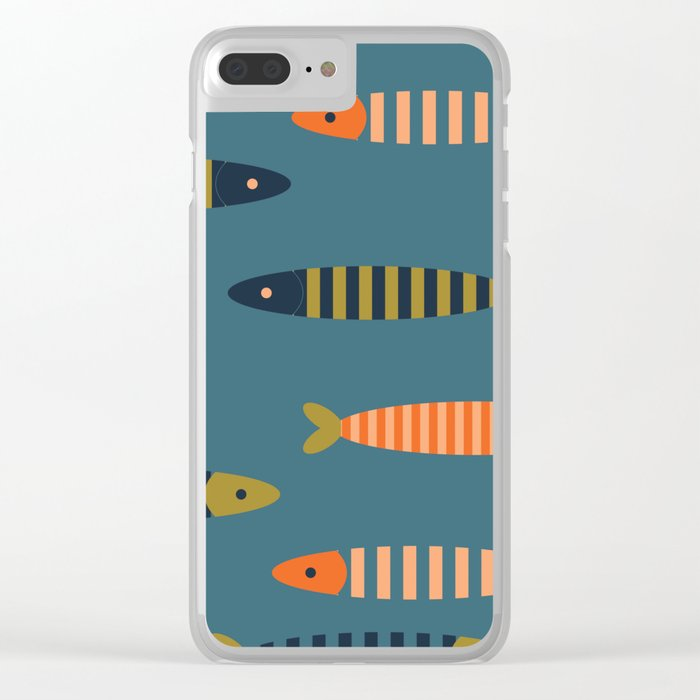 Striped fish pattern Clear iPhone Case