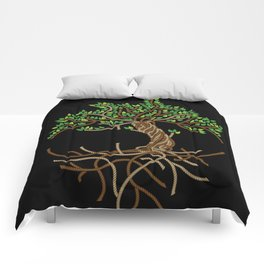 Rope Tree of Life. Rope Dojo 2017 black background Comforters