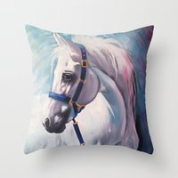 horse Throw Pillows featuring Horse by Slaveika Aladjova