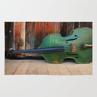bass Area & Throw Rugs featuring Double Bass by happeemonkee